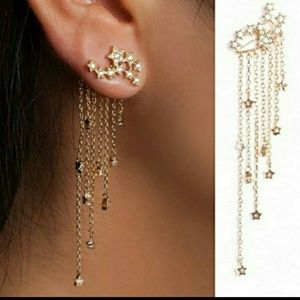 🎀Beautiful Rhinestone Tassle Star Earings